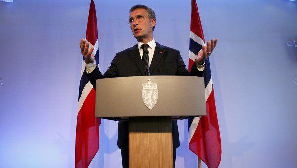 Пресс-конференция премьер-министра Норвегии Йенса Столтенберга