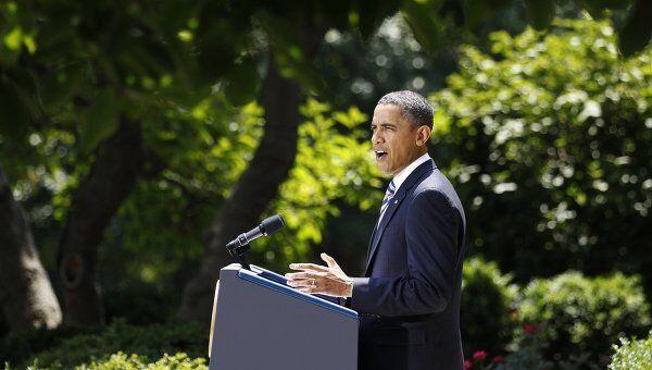 Выступление Барака Обамы в Розовом саду Белого дома после того, как конгресс утвердил законопроект по госдолгу