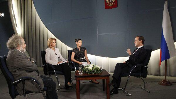 Президент РФ Д.Медведев дал интервью телеканалам и радиостанции