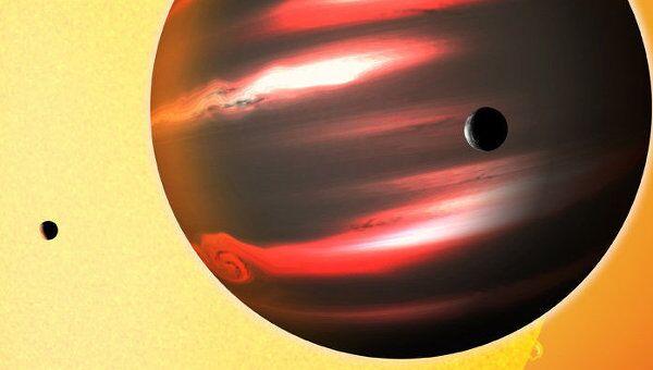 Представление художника об экзопланете TrES-2b, самой черной среди всех планет и лун