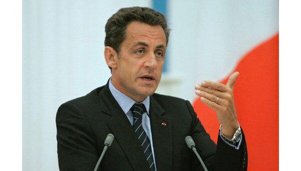 Президент Франции Николя Саркози во время пресс-конференции. Архив