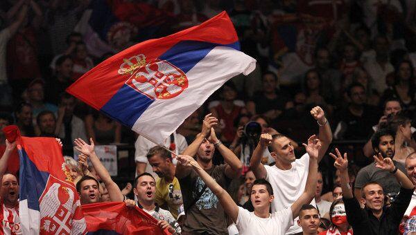 Болельщики сборной Сербии