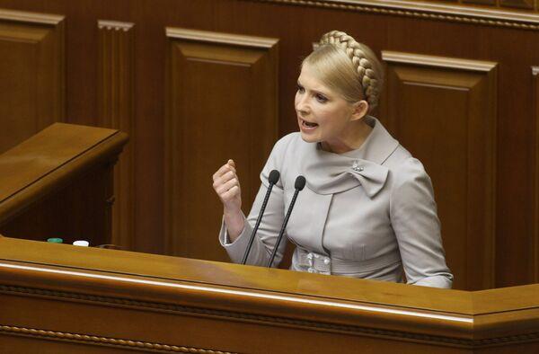 Премьер-министр Украины Юлия Тимошенко во время выступления на заседании Верховной Рады Украины. Архив