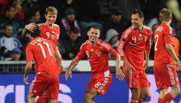 Алан Дзагоев, Роман Павлюченко, Константин Зырянов, Сергей Игнашевич и Александр Анюков (слева направо)