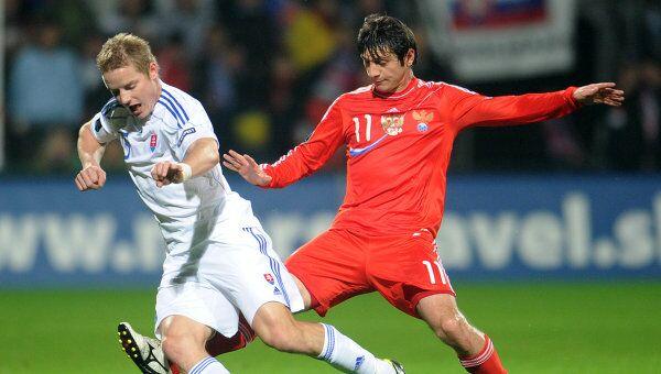 Игровой момент матча Словакия – Россия