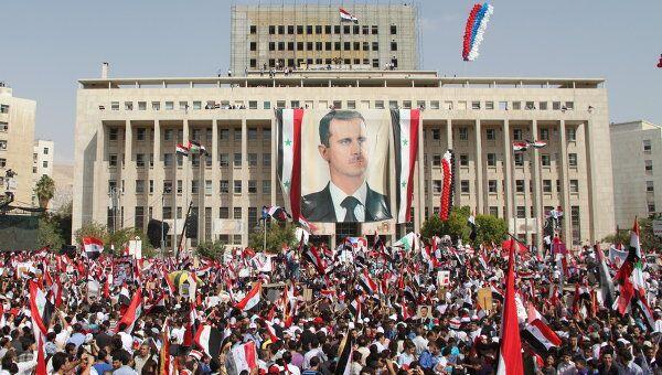 Манифестация в центре Дамаска в Сирии