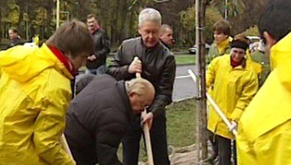 Мэр Собянин помог студентам разбить яблоневую аллею у МГУ