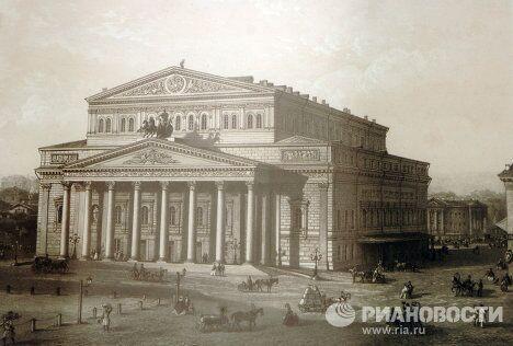 Литография с рисунка В. Садовникова Вид Большого театра (1860-е гг.)
