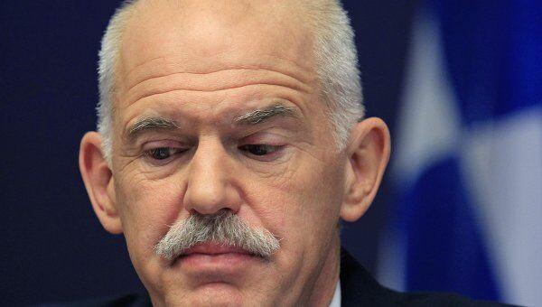 Премьер-министр Греции Йоргос Папандреу на пресс-конференции по итогам саммита  в Брюсселе