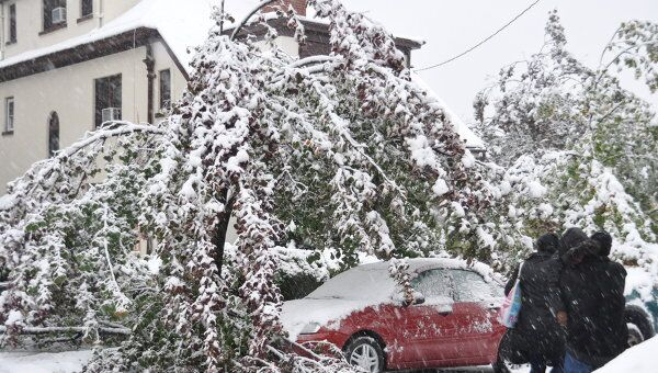 Снегопад в Нью-Йорке. Архивное фото