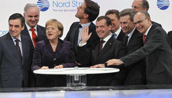 Президент РФ Д.Медведев на церемонии пуска трубопровода Северный поток