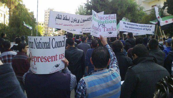 Акция протеста против политики президента Башара Асада в сирийском городе Хомс