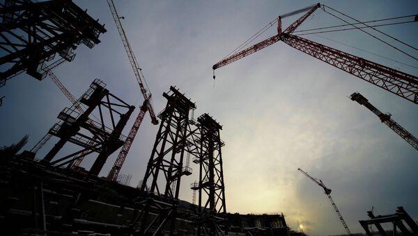 Строительство нового стадиона Зенит на Крестовском острове в Санкт-Петербурге. Архив