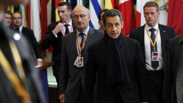 Президент Франции Николя Саркози на саммите глав государств ЕС в Брюсселе