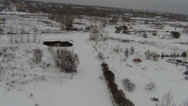 Провал почвы в городе Березники Пермского края
