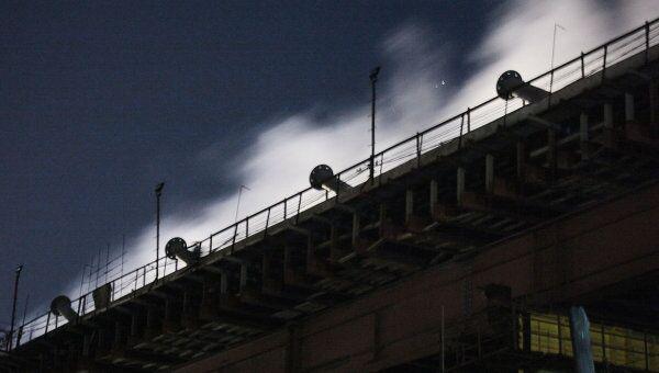 Пожар на строящемся мосту во Владивостоке