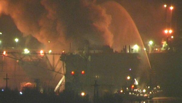 Пожар на АПЛ Екатеринбург в Мурманской области. Видео с места ЧП