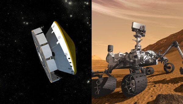 Марсоход Curiosity в полете и на Марсе