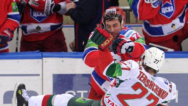 Игровой момент матча ЦСКА - Ак Барс
