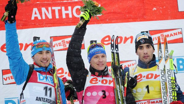 Антон Шипулин, Андреас Бирнбахер, Мартен Фуркад (слева направо)