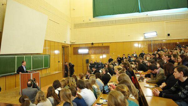 Дмитрий Медведев в День российского студенчества проводит встречу со студентами факультета журналистики МГУ имени М.В. Ломоносова
