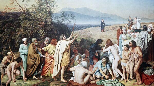 Репродукция картины А. А. Иванова Явление Христа народу. Государственная Третьяковская галерея