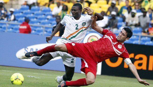 Игровой момент матча Тунис - Нигер