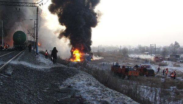 Оперативная группа главного управления МЧС РРФ по Амурской области сообщает о возгорании железнодорожных цистерн с нефтью