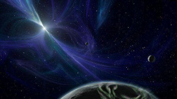 Пульсар и вращающаяся вокруг него планета глазами художника