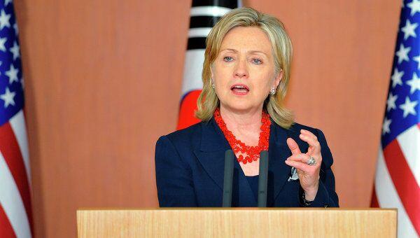 Глава Госдепартамента США Хиллари Клинтон, пребывающая с официальным визитом в Южной Корее