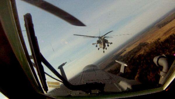 Групповой пилотаж Беркутов. Видео из кабины пилота Ми-28Н