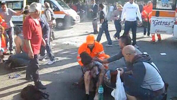 Первые минуты после взрыва у лицея в итальянском Бриндизи