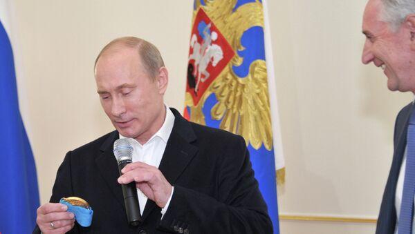 Президент РФ В.Путин встретился с чемпионами Мира - российской хоккейной сборной