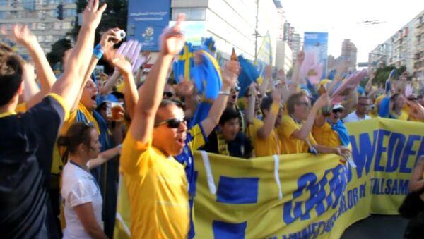 Марш шведских болельщиков на Евро-2012