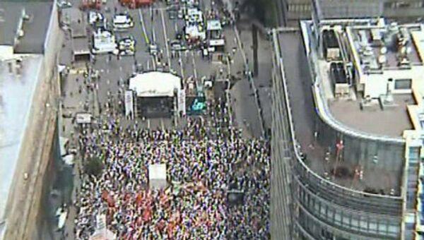 Митинг на проспекте Академика Сахарова. Фото сделанно с вертолета ГУ МВД России по г. Москве