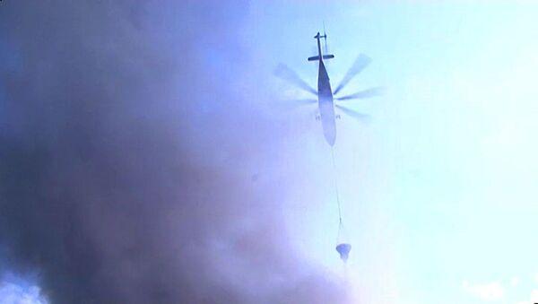 Крупный пожар на складе в Москве тушили с вертолетов. Кадры с места ЧП