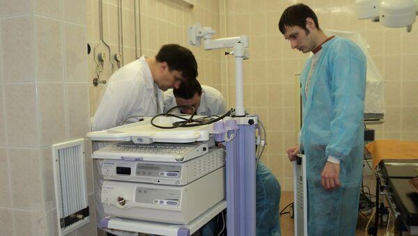 Медицинское оборудование для родильного отделения городской больницы в подмосковном Протвино. Архивное фото