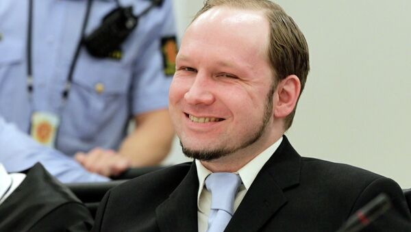 Обвиняемый в терроризме Андерс Брейвик в суде в Осло