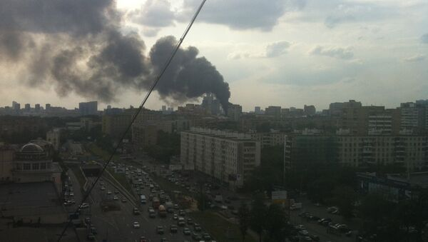 Пожар в районе метро Динамо в Москве