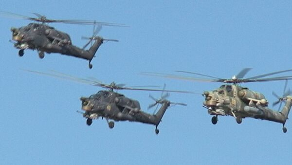 Беркуты на Ми-28Н взмыли в небо стрелой на репетиции нового шоу