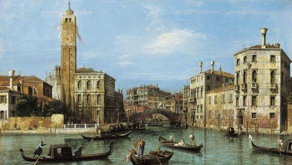 Каналетто (Canaletto). Гранд-канал с церковью Сан-Джеремия, дворцом Лабия и каналом Канареджо. Около 1726-1727 годов. Представлена на выставке в парижском музее Жакмар-Андре