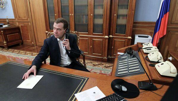Д.Медведев в рабочем кабинете. Архив