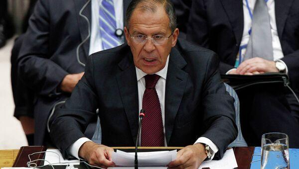 Глава МИД РФ Сергей Лавров на министерском заседании Совета Безопасности ООН по Ближнему Восток