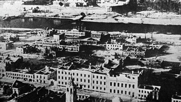 Вид разрушенного города Новгорода. 1944 год