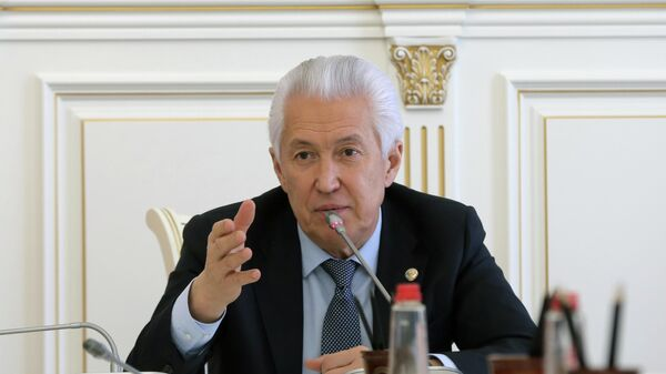 Глава Дагестана Владимир Васильев во время совещания с представителями органов власти региона