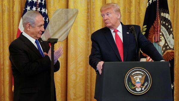 Президент США Дональд Трамп и премьер-министр Израиля Биньямин Нетаньяху во время совместной пресс-конференции в Вашингтоне