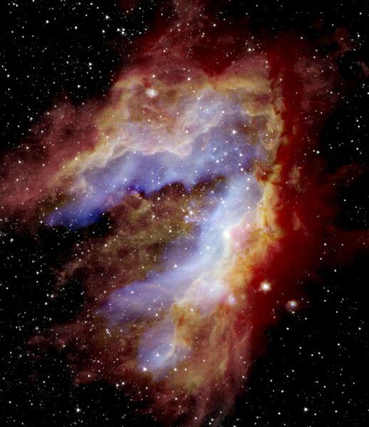 Составное изображение туманности Лебедя, сделанное телескопом SOFIA