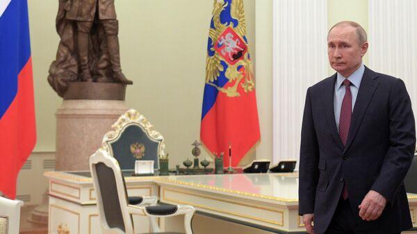 Президент РФ Владимир Путин во время встречи с премьер-министром Израиля Биньямином Нетаньяху