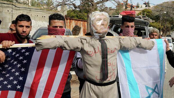 Акция протеста против плана палестино-израильского урегулирования в секторе Газа