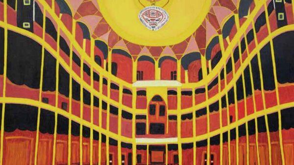 Картина художника Кирилла Майданюка на выставке Новые городские художники на площадке Государственного музейно-выставочного центра РОСИЗО в Москве.
